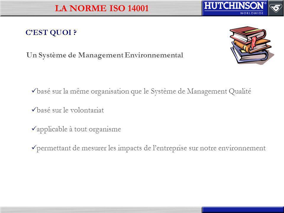 LA NORME ISO 14001 C'EST QUOI Un Système de Management Environnemental. basé sur la même organisation que le Système de Management Qualité.