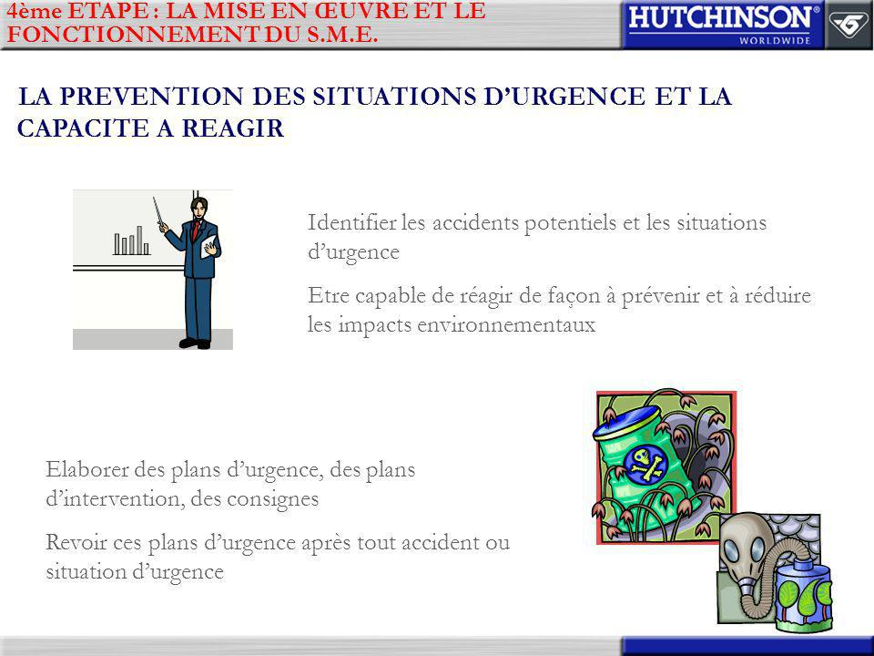 LA PREVENTION DES SITUATIONS D'URGENCE ET LA CAPACITE A REAGIR