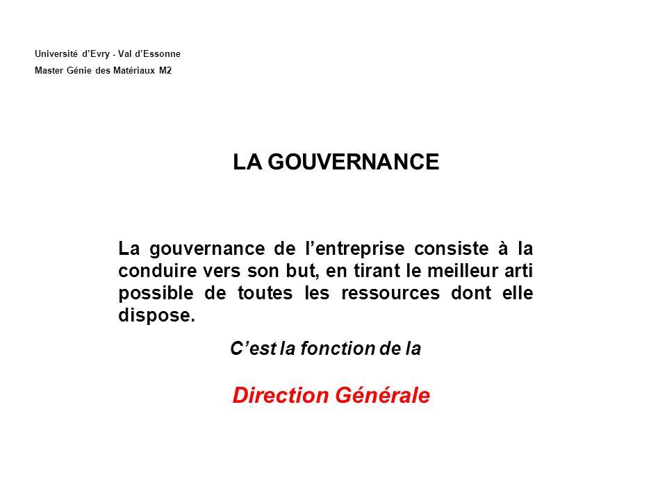 LA GOUVERNANCE Direction Générale