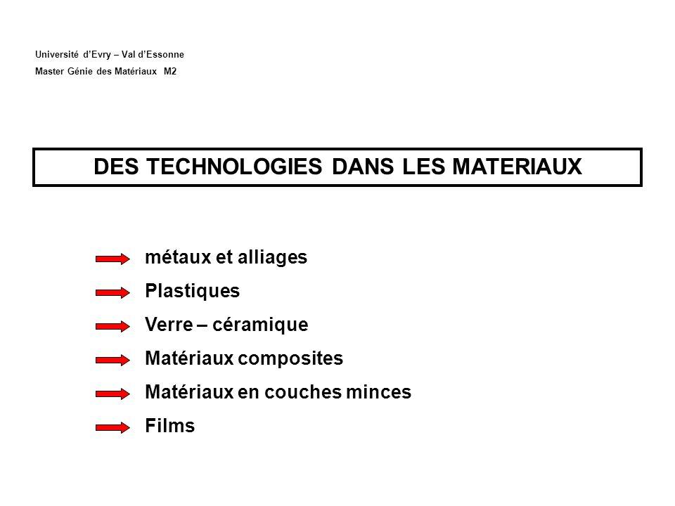 DES TECHNOLOGIES DANS LES MATERIAUX