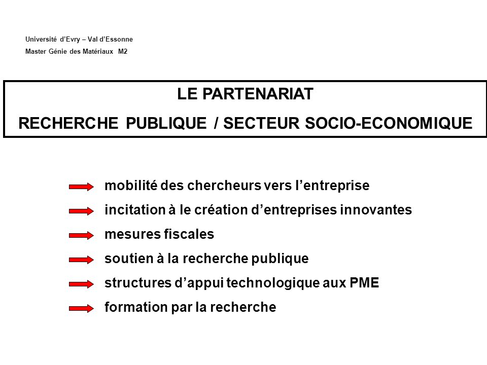 RECHERCHE PUBLIQUE / SECTEUR SOCIO-ECONOMIQUE