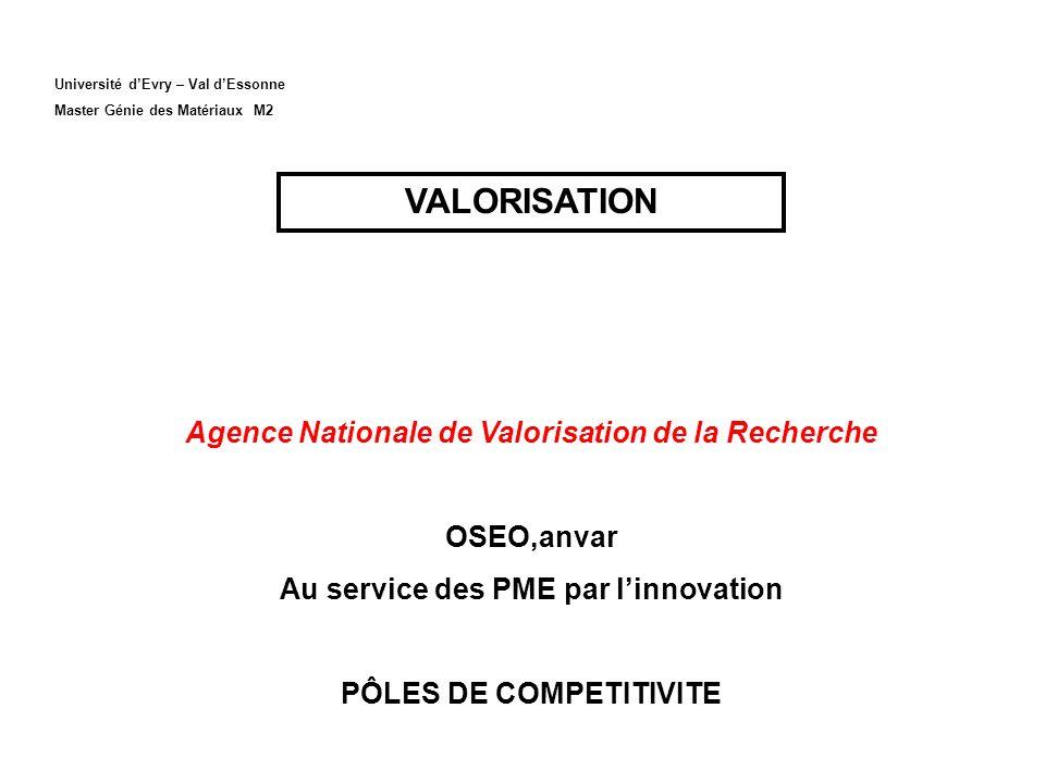 VALORISATION Agence Nationale de Valorisation de la Recherche