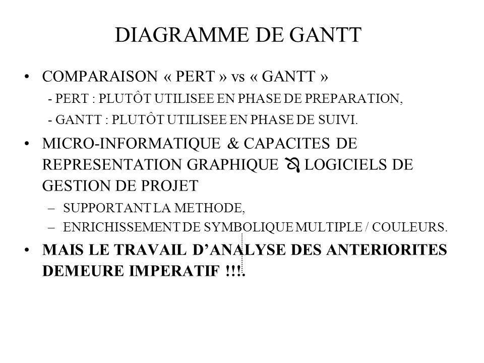 DIAGRAMME DE GANTT COMPARAISON « PERT » vs « GANTT »