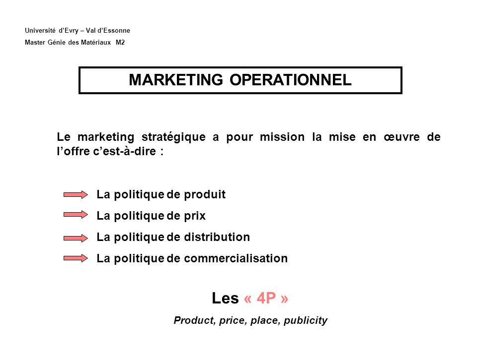 MARKETING OPERATIONNEL Product, price, place, publicity