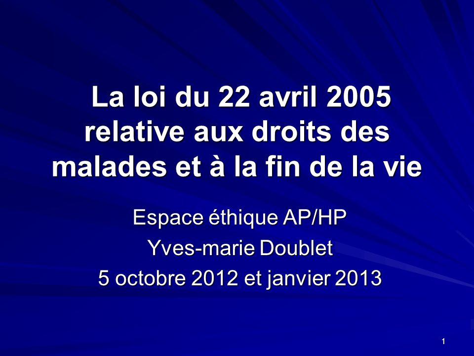Espace éthique AP/HP Yves-marie Doublet 5 octobre 2012 et janvier 2013