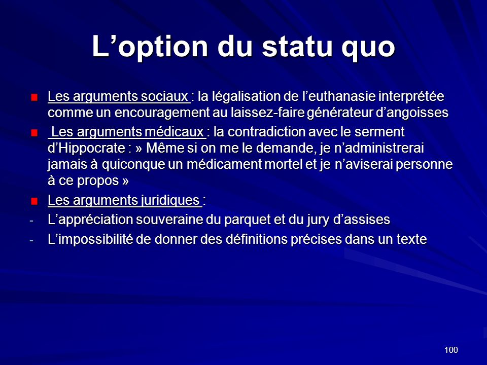 L'option du statu quo