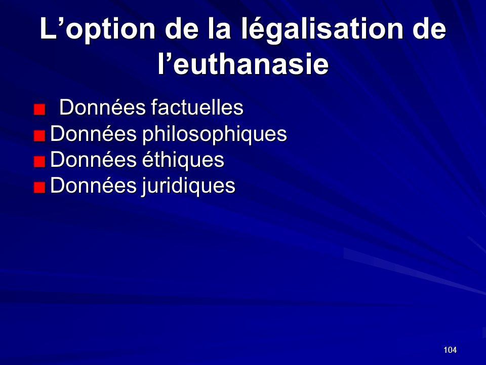 L'option de la légalisation de l'euthanasie