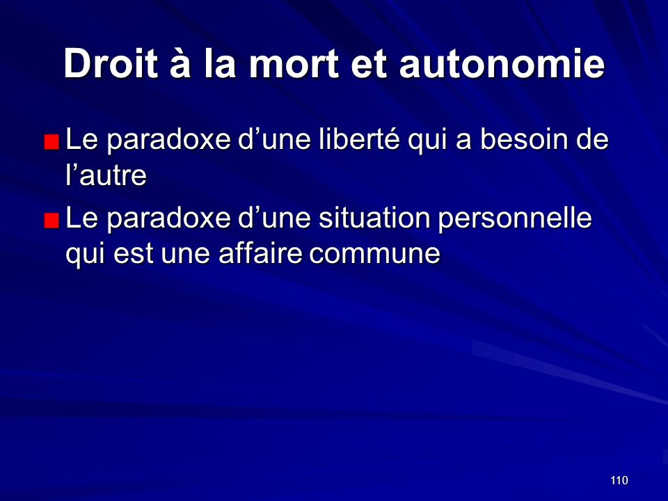 Droit à la mort et autonomie