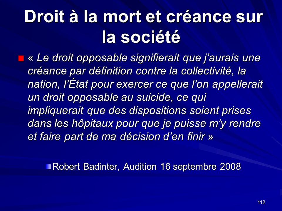 Droit à la mort et créance sur la société
