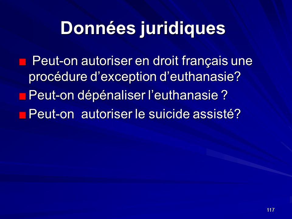 Données juridiques Peut-on autoriser en droit français une procédure d'exception d'euthanasie Peut-on dépénaliser l'euthanasie