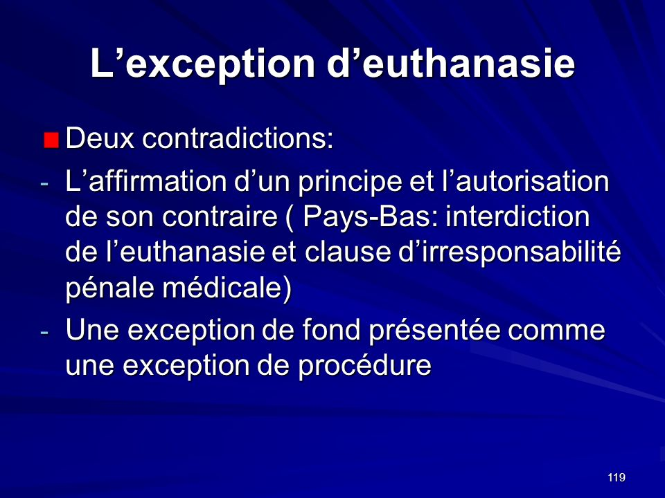 L'exception d'euthanasie