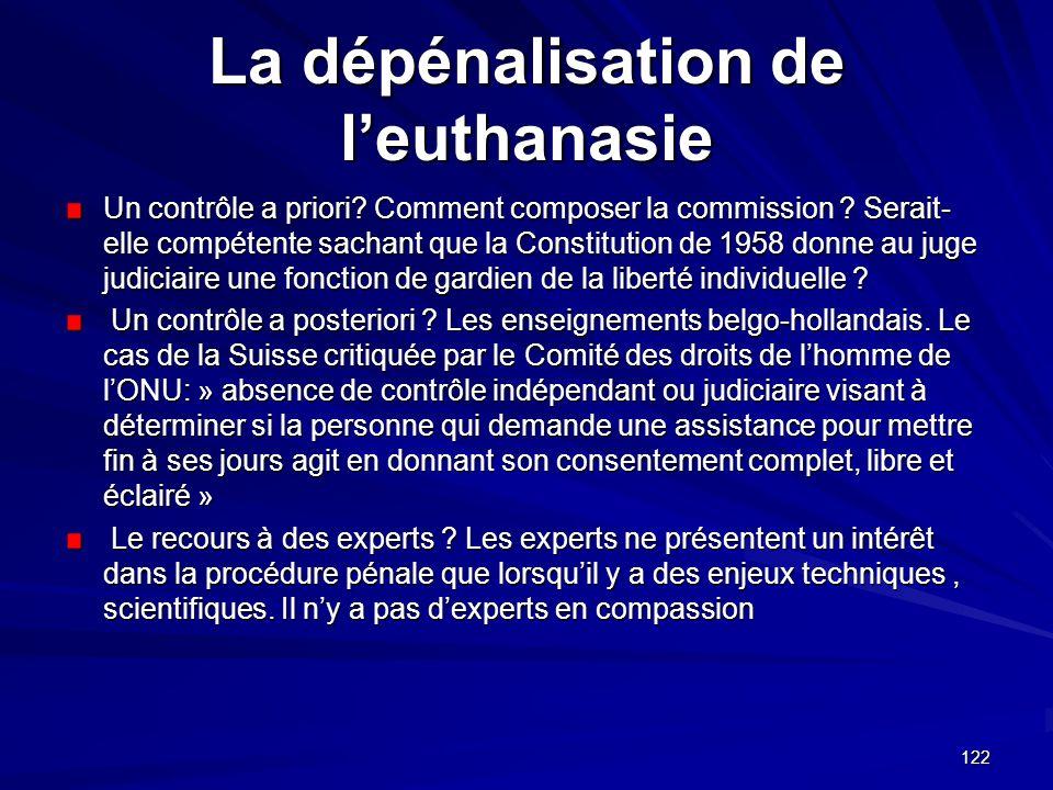 La dépénalisation de l'euthanasie