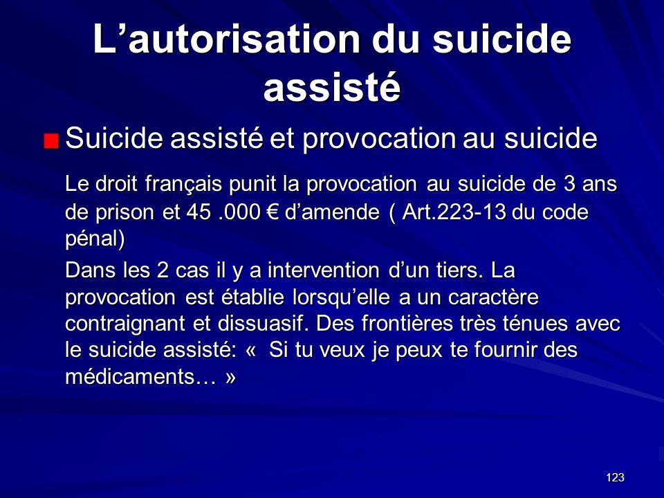 L'autorisation du suicide assisté