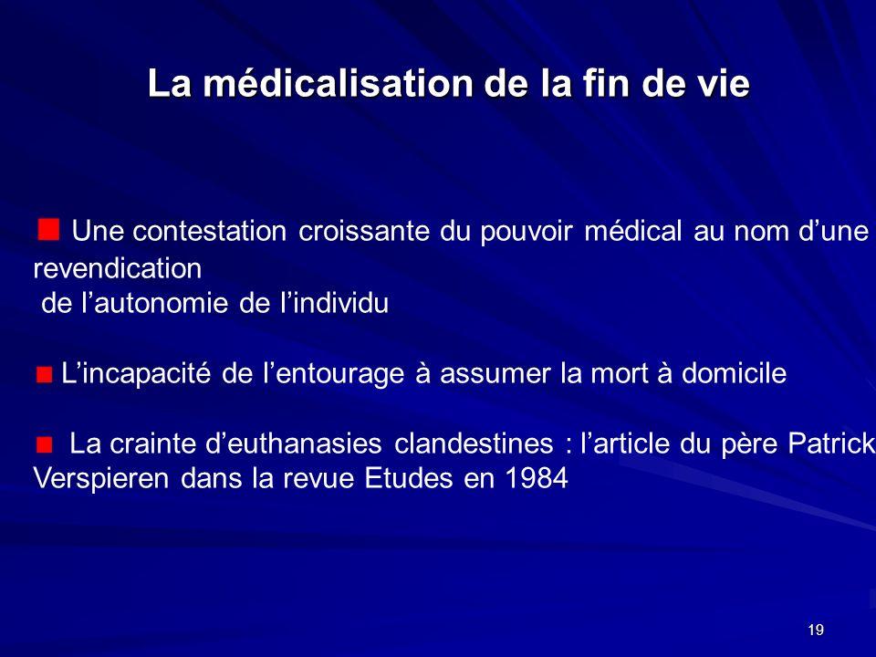La médicalisation de la fin de vie