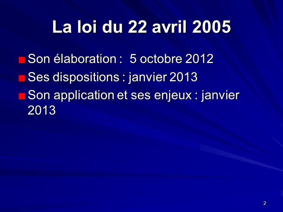 La loi du 22 avril 2005 Son élaboration : 5 octobre 2012