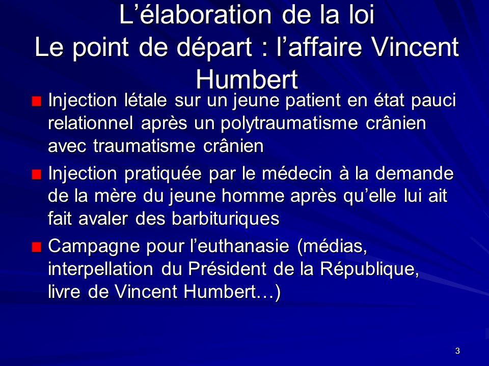 L'élaboration de la loi Le point de départ : l'affaire Vincent Humbert