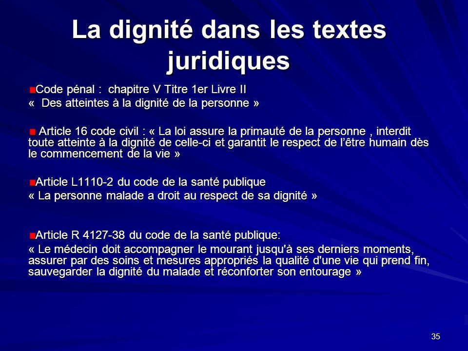 La dignité dans les textes juridiques