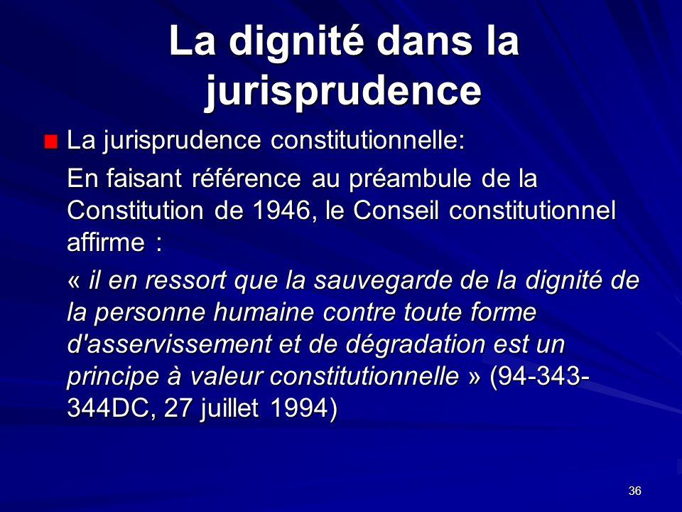 La dignité dans la jurisprudence