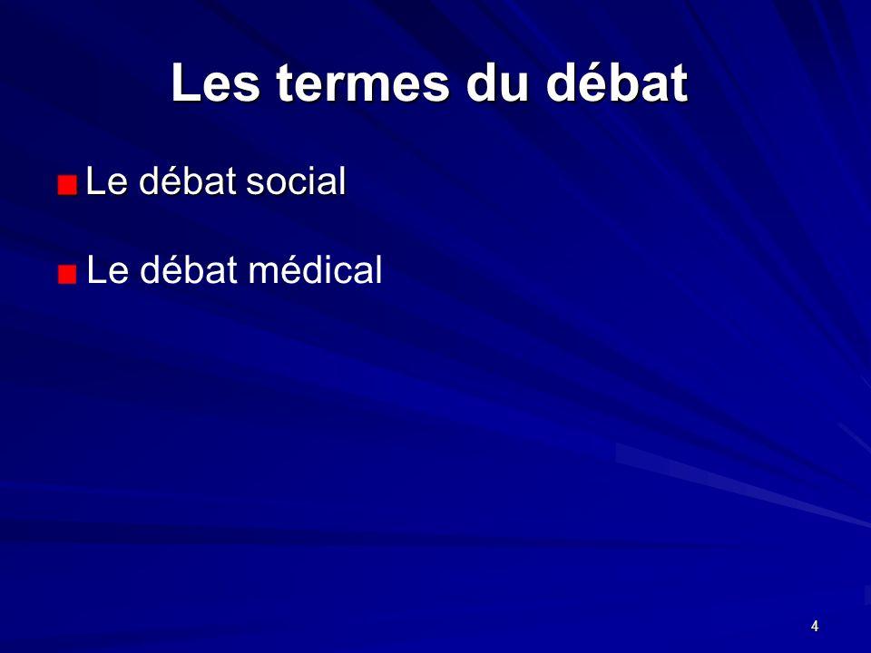 Les termes du débat Le débat social Le débat médical