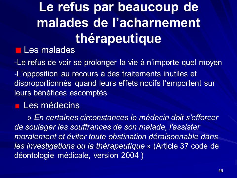 Le refus par beaucoup de malades de l'acharnement thérapeutique