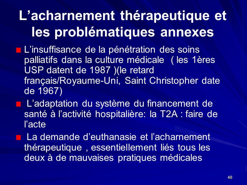 L'acharnement thérapeutique et les problématiques annexes