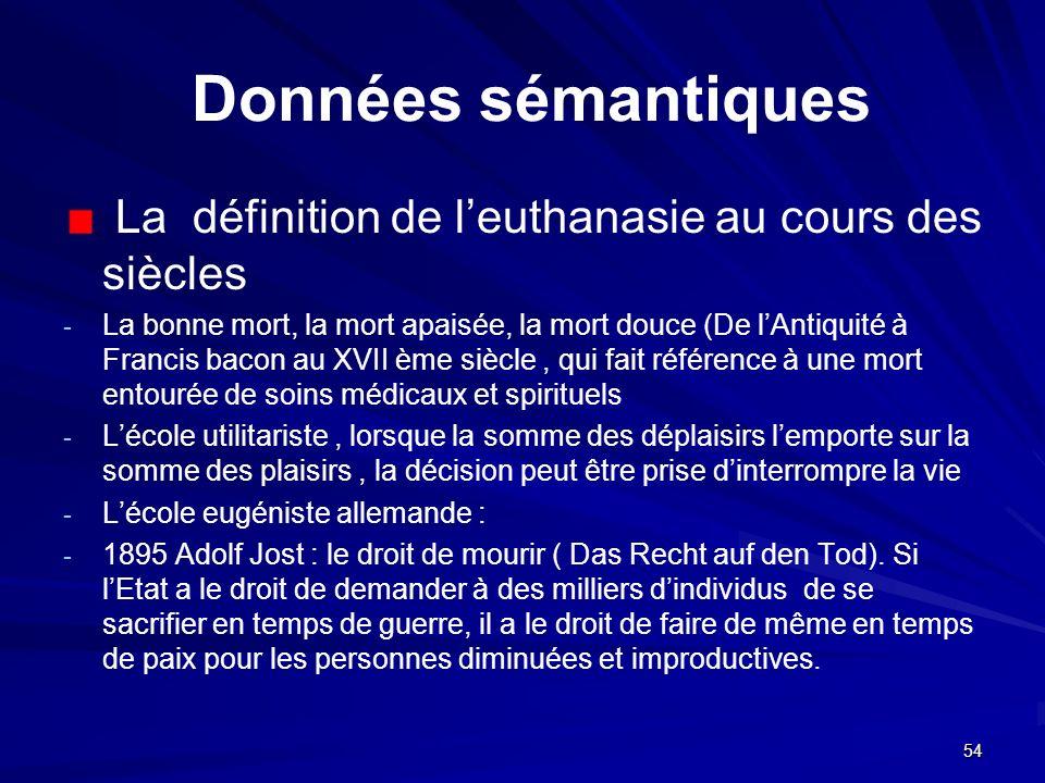 Données sémantiques La définition de l'euthanasie au cours des siècles