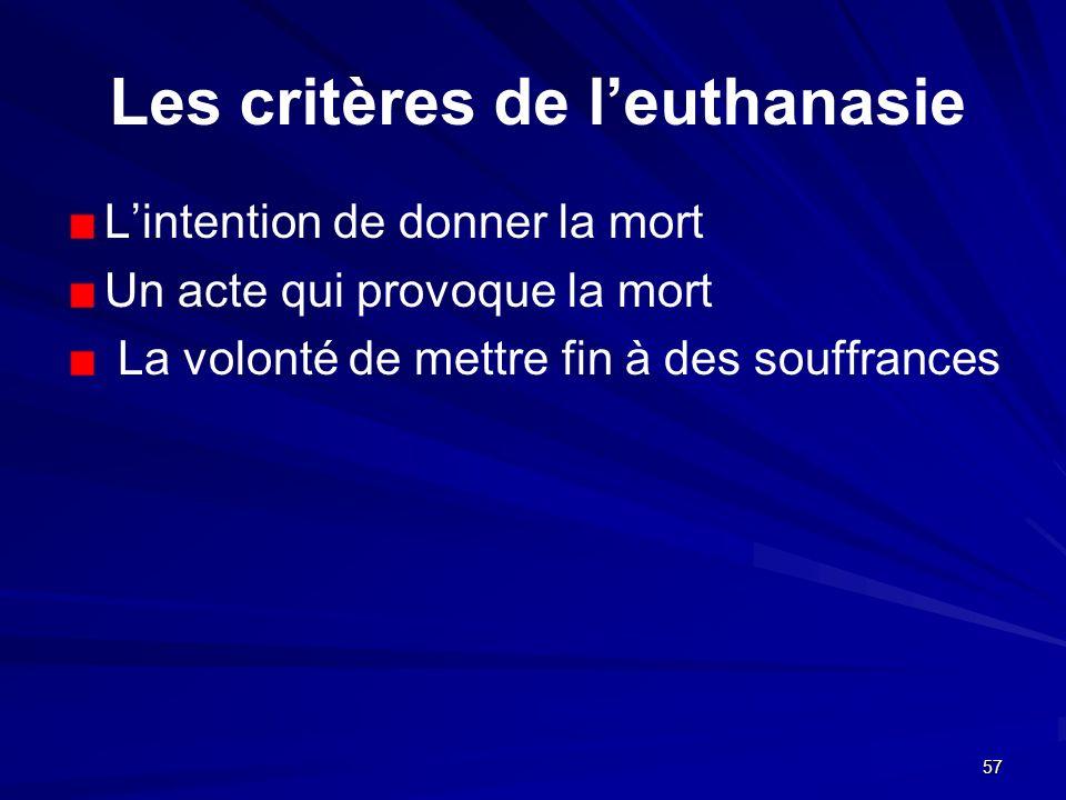 Les critères de l'euthanasie