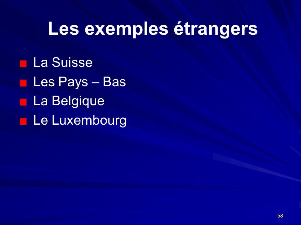 Les exemples étrangers