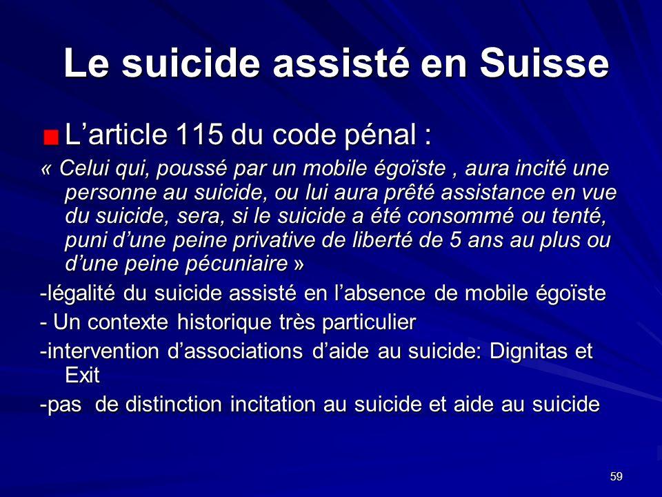 Le suicide assisté en Suisse