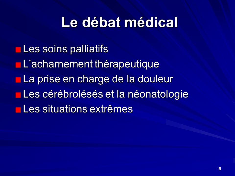 Le débat médical Les soins palliatifs L'acharnement thérapeutique