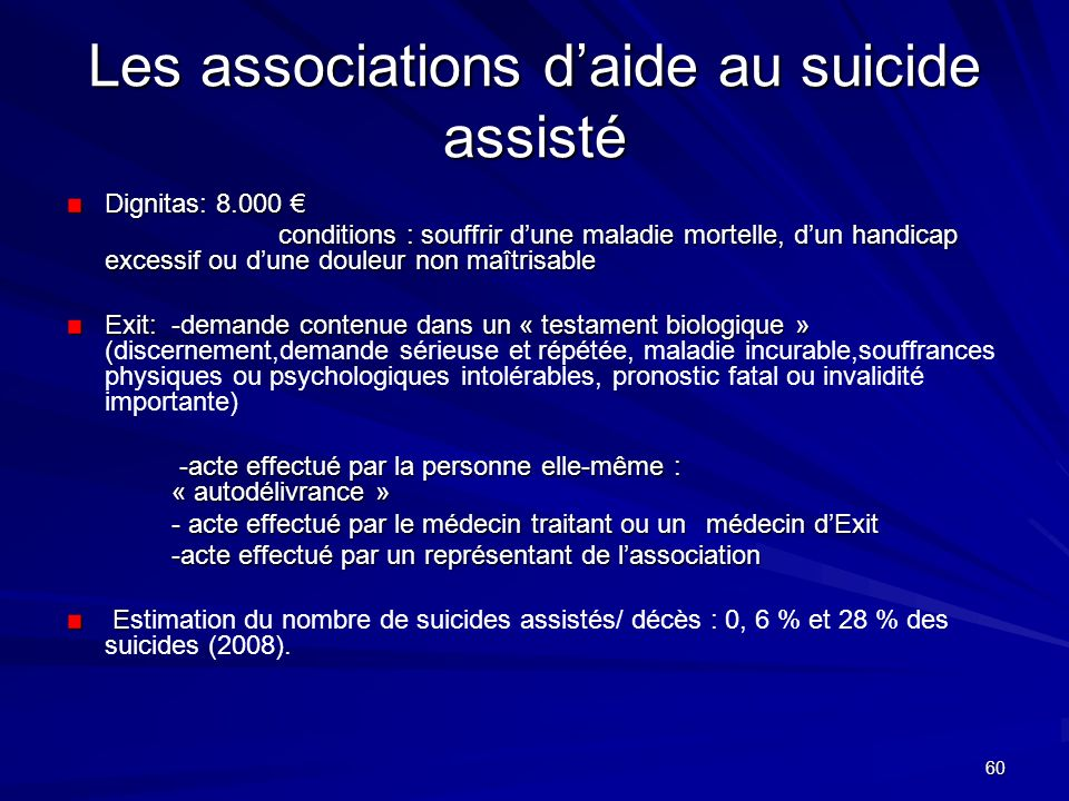 Les associations d'aide au suicide assisté