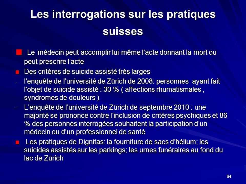 Les interrogations sur les pratiques suisses