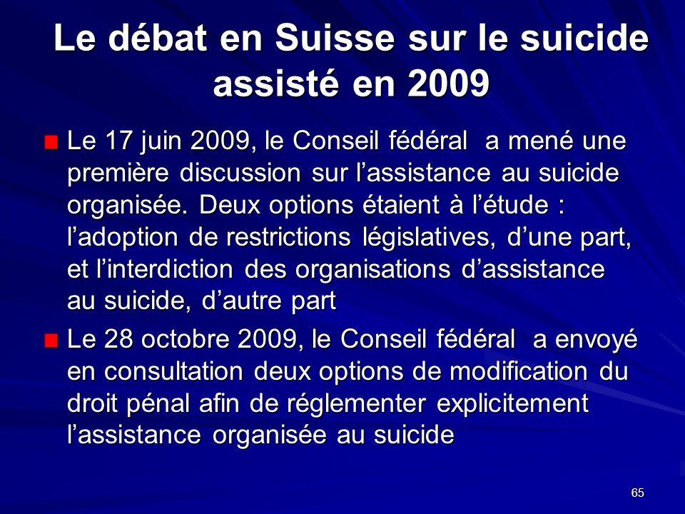 Le débat en Suisse sur le suicide assisté en 2009