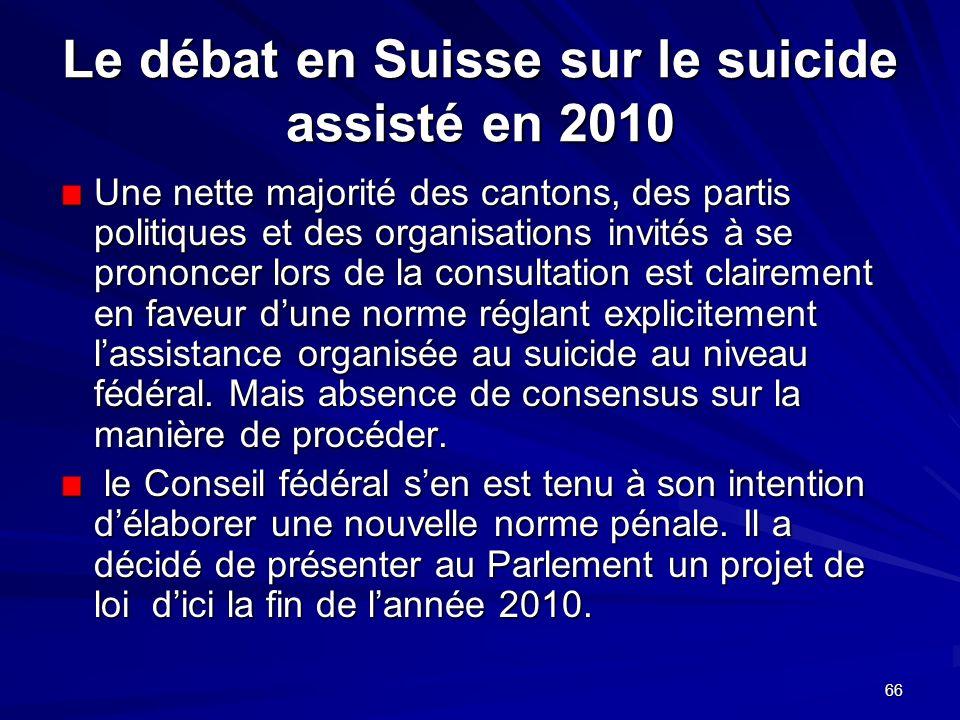 Le débat en Suisse sur le suicide assisté en 2010