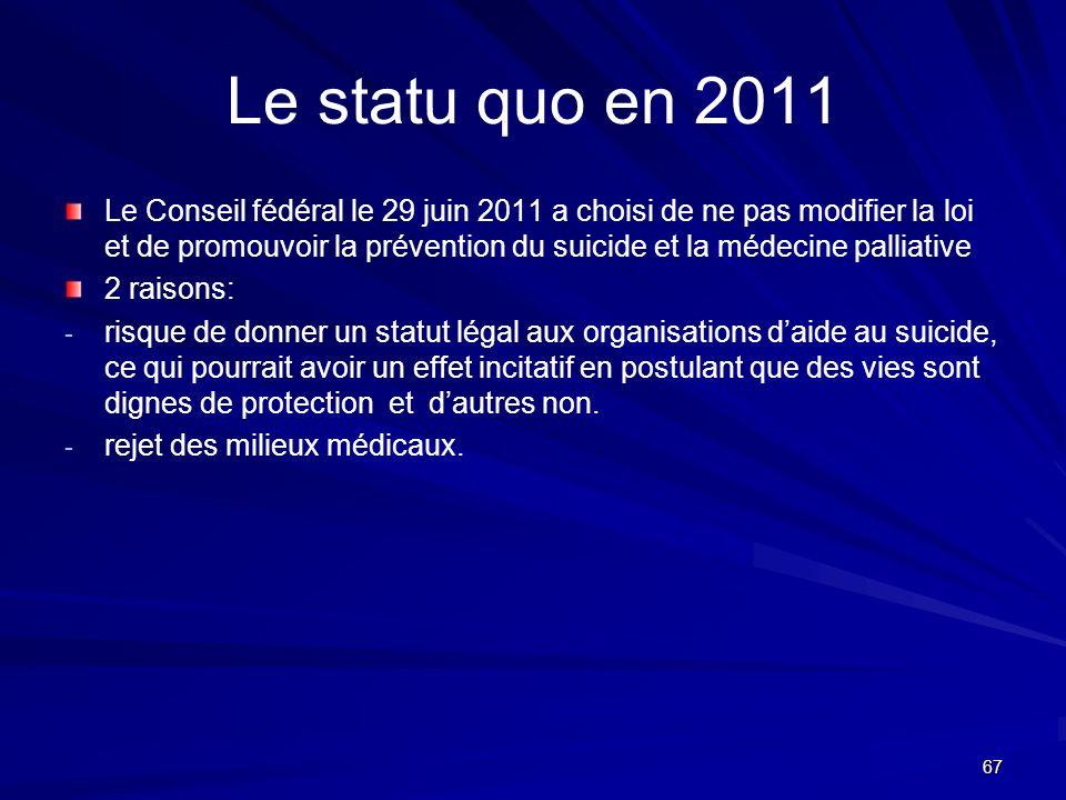 Le statu quo en 2011