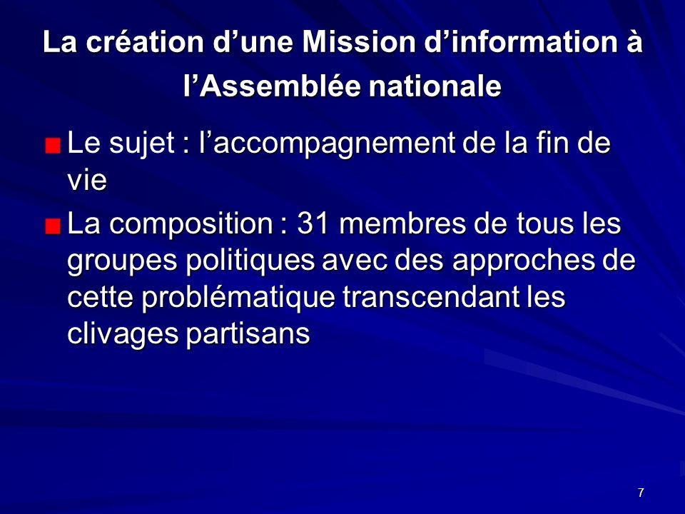 La création d'une Mission d'information à l'Assemblée nationale