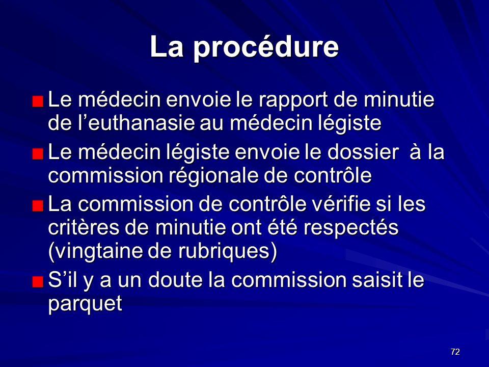 La procédure Le médecin envoie le rapport de minutie de l'euthanasie au médecin légiste.