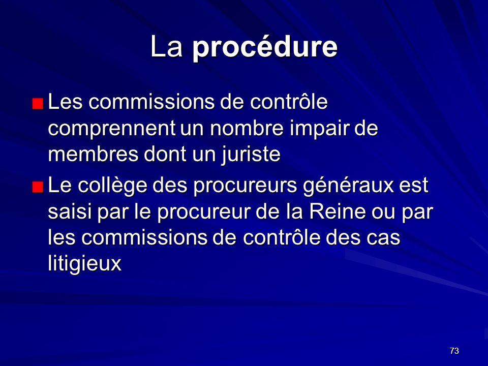 La procédure Les commissions de contrôle comprennent un nombre impair de membres dont un juriste.