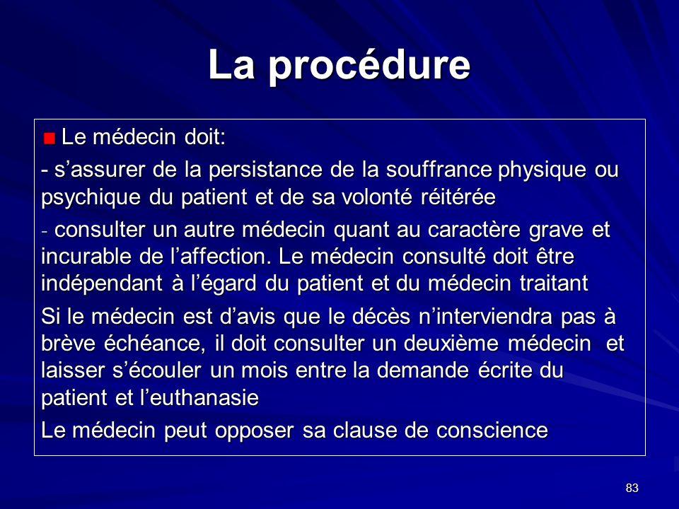 La procédure Le médecin doit: