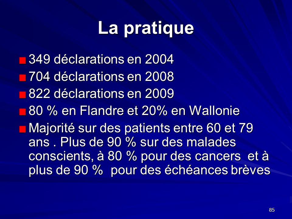 La pratique 349 déclarations en 2004 704 déclarations en 2008