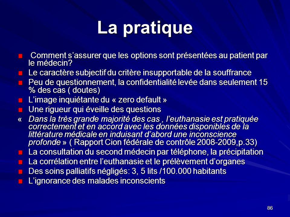 La pratique Comment s'assurer que les options sont présentées au patient par le médecin