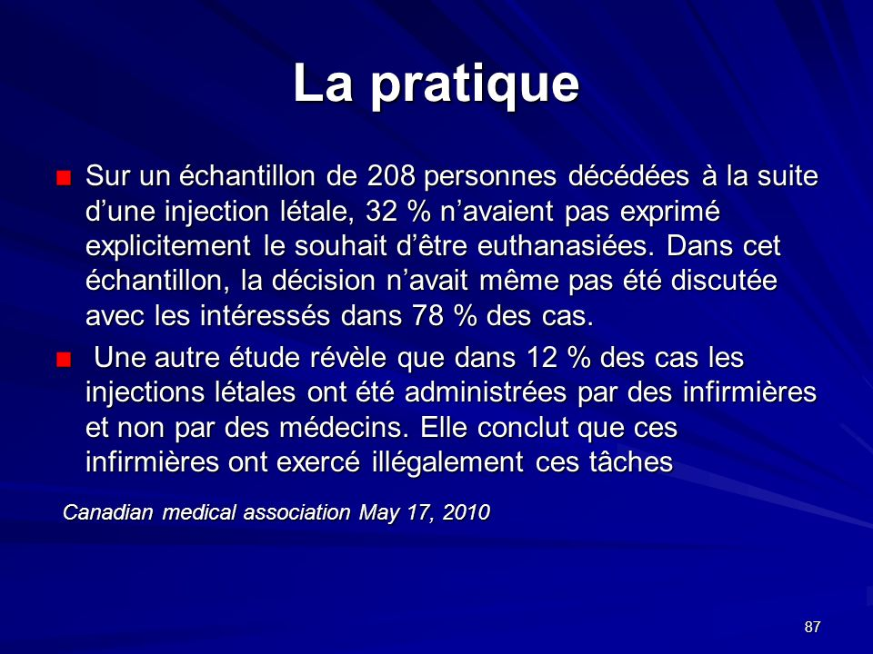 La pratique Canadian medical association May 17, 2010