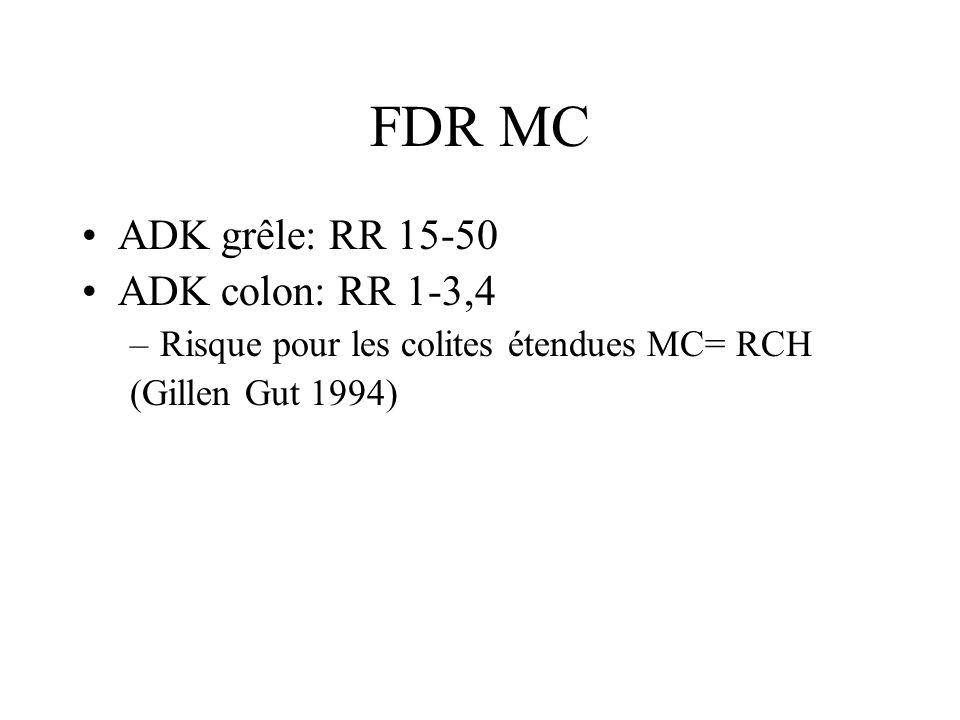 FDR MC ADK grêle: RR 15-50 ADK colon: RR 1-3,4