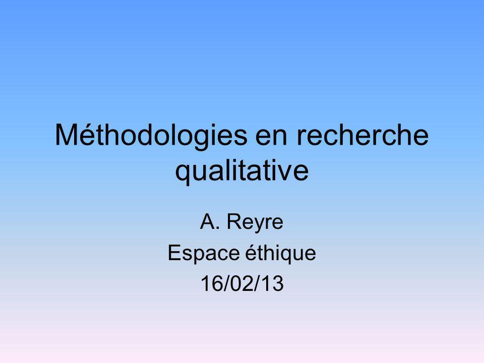 Méthodologies en recherche qualitative