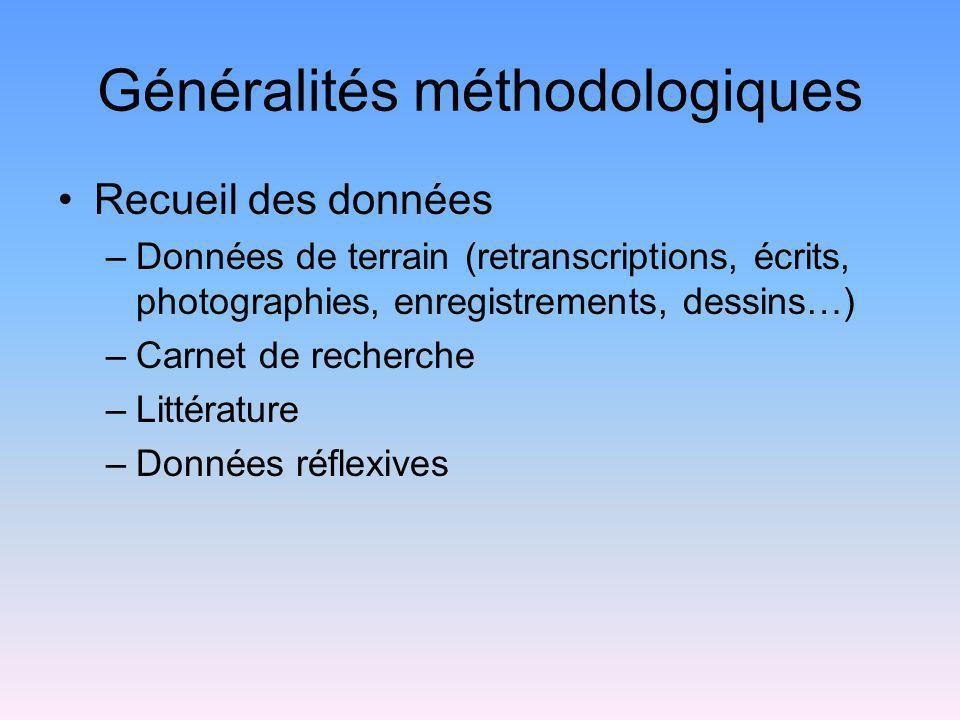 Généralités méthodologiques