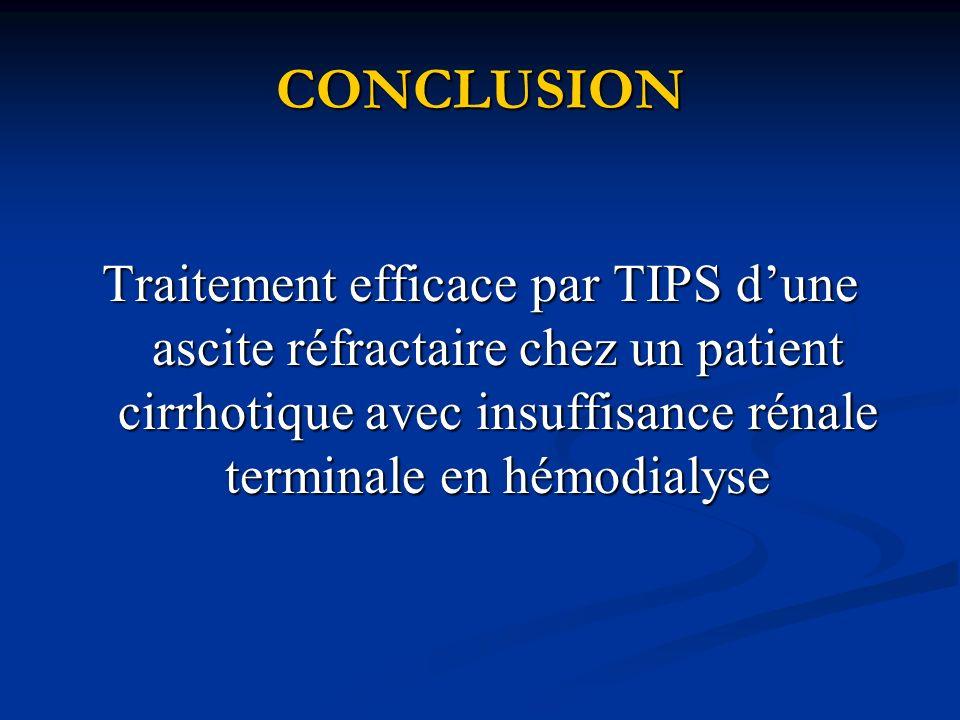 CONCLUSION Traitement efficace par TIPS d'une ascite réfractaire chez un patient cirrhotique avec insuffisance rénale terminale en hémodialyse.