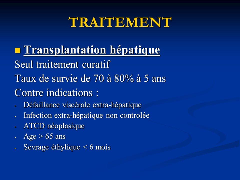 TRAITEMENT Transplantation hépatique Seul traitement curatif