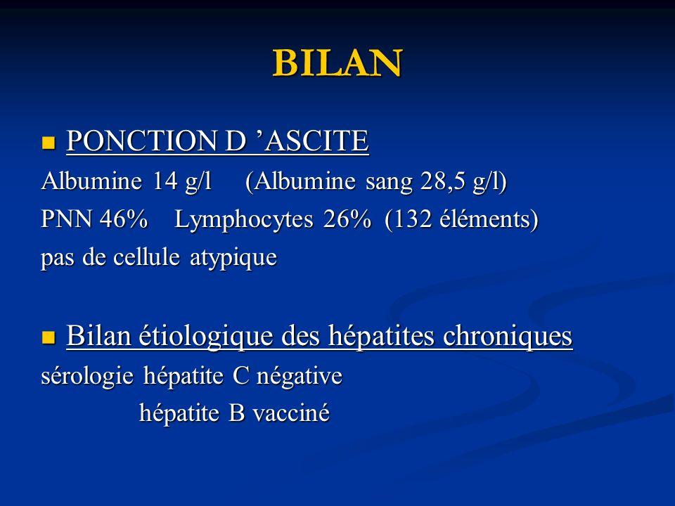 BILAN PONCTION D 'ASCITE Bilan étiologique des hépatites chroniques