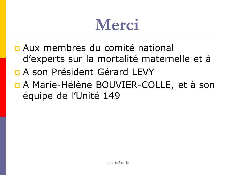 Merci Aux membres du comité national d'experts sur la mortalité maternelle et à. A son Président Gérard LEVY.