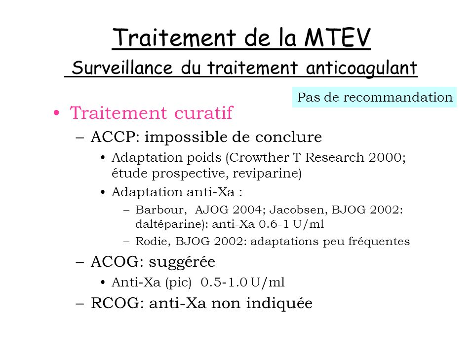Traitement de la MTEV Surveillance du traitement anticoagulant